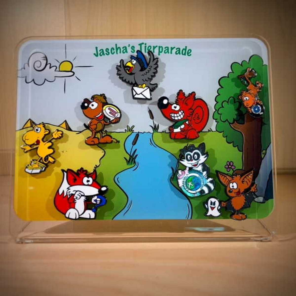"""Jascha's Tierparade"" - Komplettsammlung 8 MetalPins mit gratis Pin-Display"